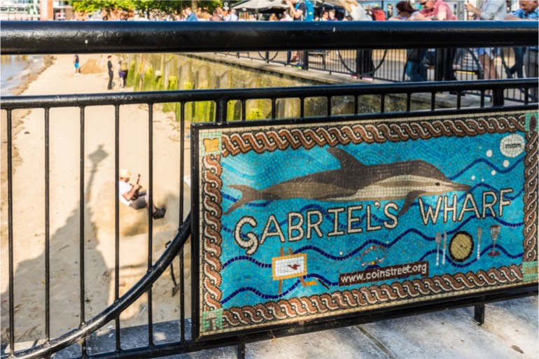 Gabriel's Wharf, London with dolphin sign